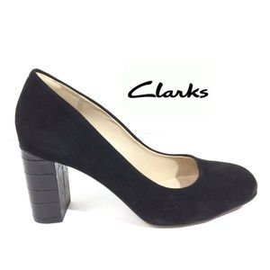 Clarks Narrative Heel Black Suede Embossed Chunky